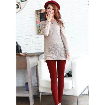 Harga 2017 Women/ Men Winter Leggings /-15 degree keep warm/ inner wear/Women pants-Maroon
