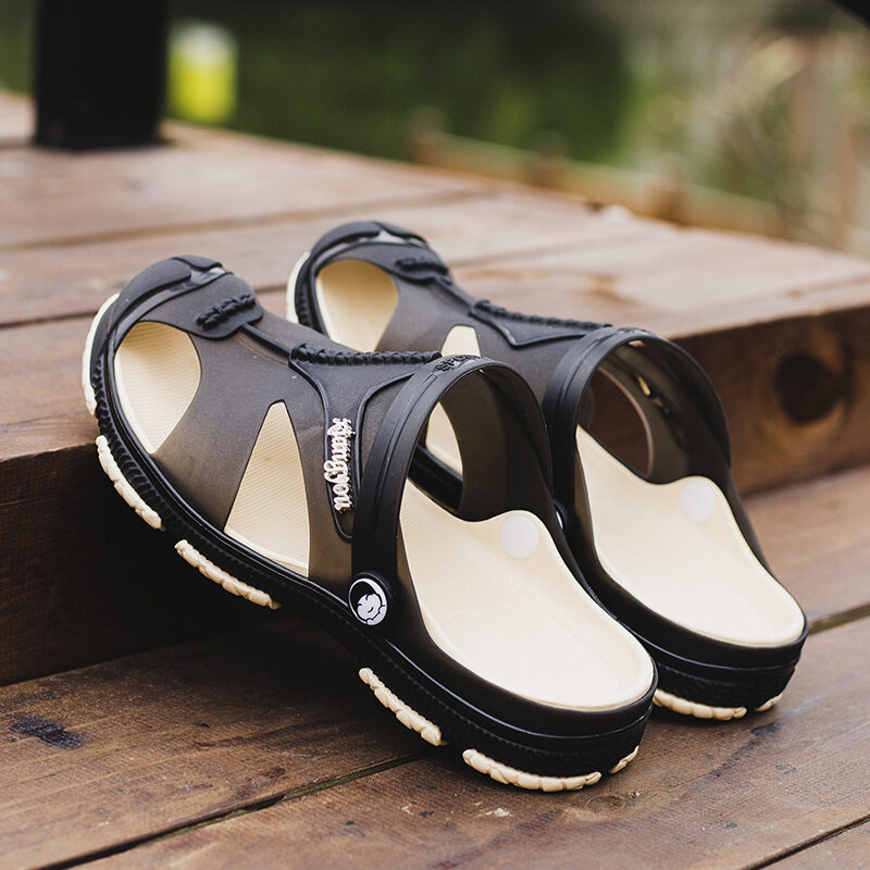 2017lazada Hot Spring Men's Lightweight Jelly Antiskid Wading Hasp Men's Sandals and Slippers Black - intl