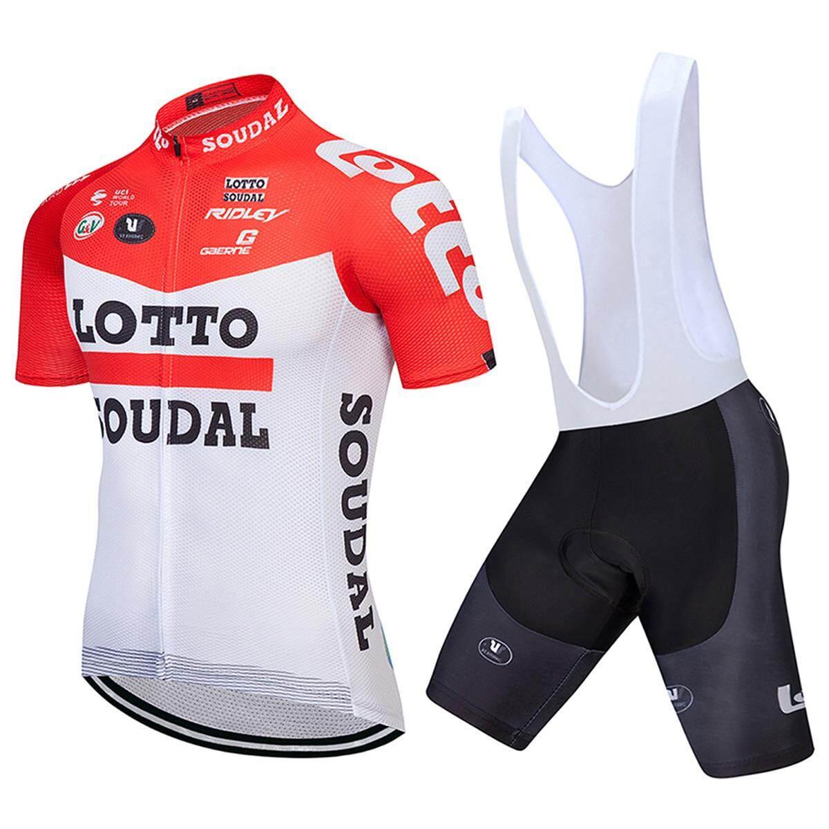 2018 Lotto Baru Lengan Pendek Bersepeda Jersey Tim PRO Pria Bib Set Pendek Him Kering Bersepeda Pakaian Sepeda Pakaian 9D gel Alas-Internasional