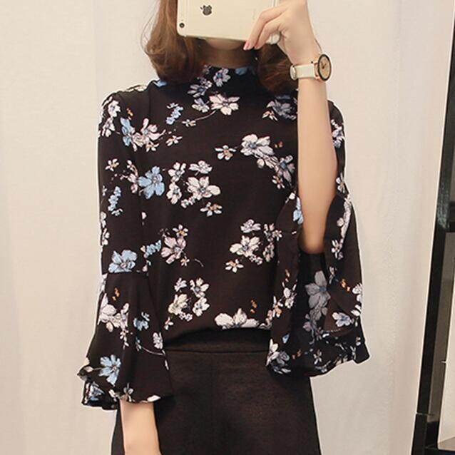 2018 Women vintage Casual printing Floral Blouse Long Sleeve Fashion Ruffles Blouses Shirts - intl