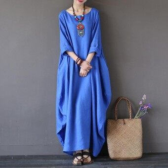 2018 ZANZEA Womens Crewneck 3/4 Batwing Sleeve Baggy Maxi Long Shirt Dress Casual Party Kaftan Solid Robe Vestido Plus Size (Blue)