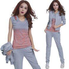 ขาย ซื้อ 3 Pieces Korean Fashion Casual Sports Suits Trousers Short Sleeved Shirt Soft Sweaters Color Grey