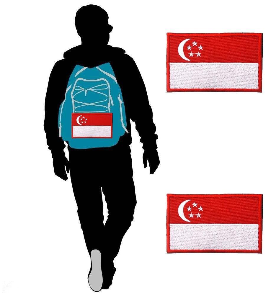 3D Jahit Ketrampilan Singapura Singapore Bendera Bordir Taktis Velcro Morale Stiker Seragam Militer Melarang Lengan Untuk Ransel Topi Kaus Celana -Internasional