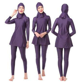 3PCS/set Women Plus Size Muslim Swimwear Beach Bathing Suit Muslimah Islamic Swimsuit Swim Surf Wear Sport Clothing Purple