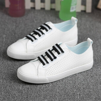 40 41 42 43 breathable casual mesh canvas shoes (White and black622-322)