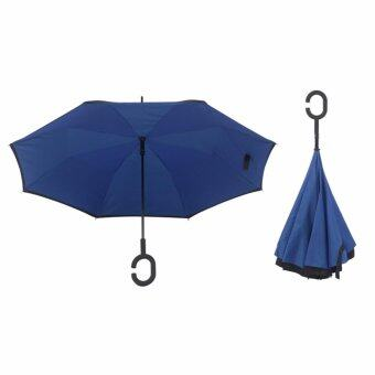 Harga 4CONNECT High Quality Unique Inverted Inside-Out Umbrella WithC-Hook Handle - RUBY BLUE