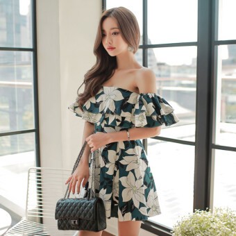 Harga A word shoulder lotus leaf edge halter waist a word pants dress