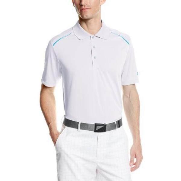 Adidas Adidas Golf Pria CLIMACHILL Polo POLO Polos, Putih/Biru Surya,-Internasional