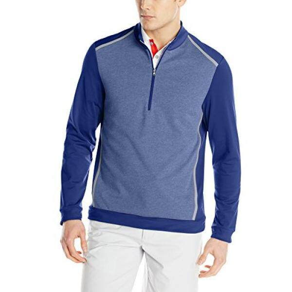 Adidas Golf Pria Mata Burung Bulu 1/2 Risleting Kaus, Malam Laut/VISTA Grey,-Internasional