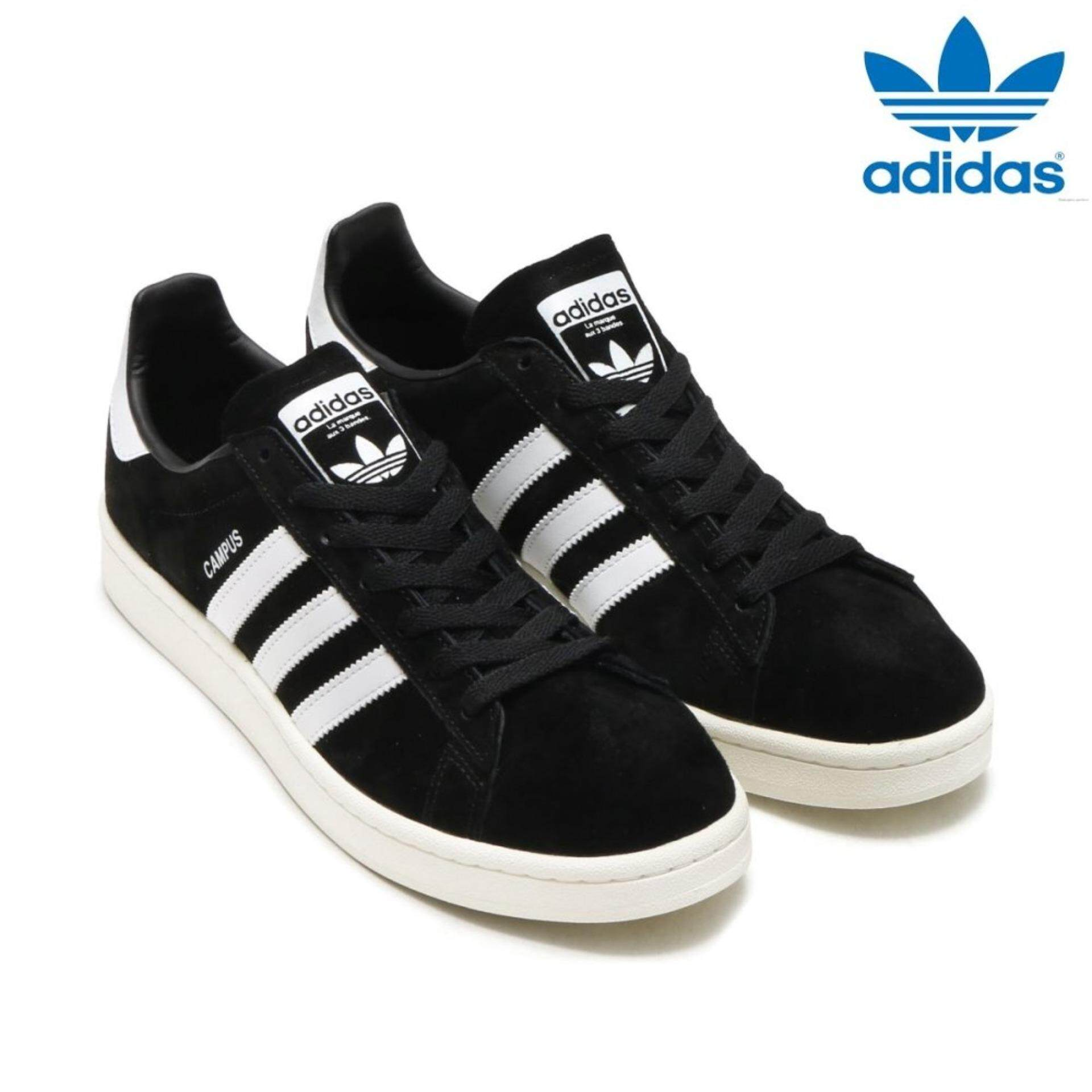Adidas Uniseks Originals BZ0084 Kampus Sepatu Hitam/Putih 100% Asli-Internasional