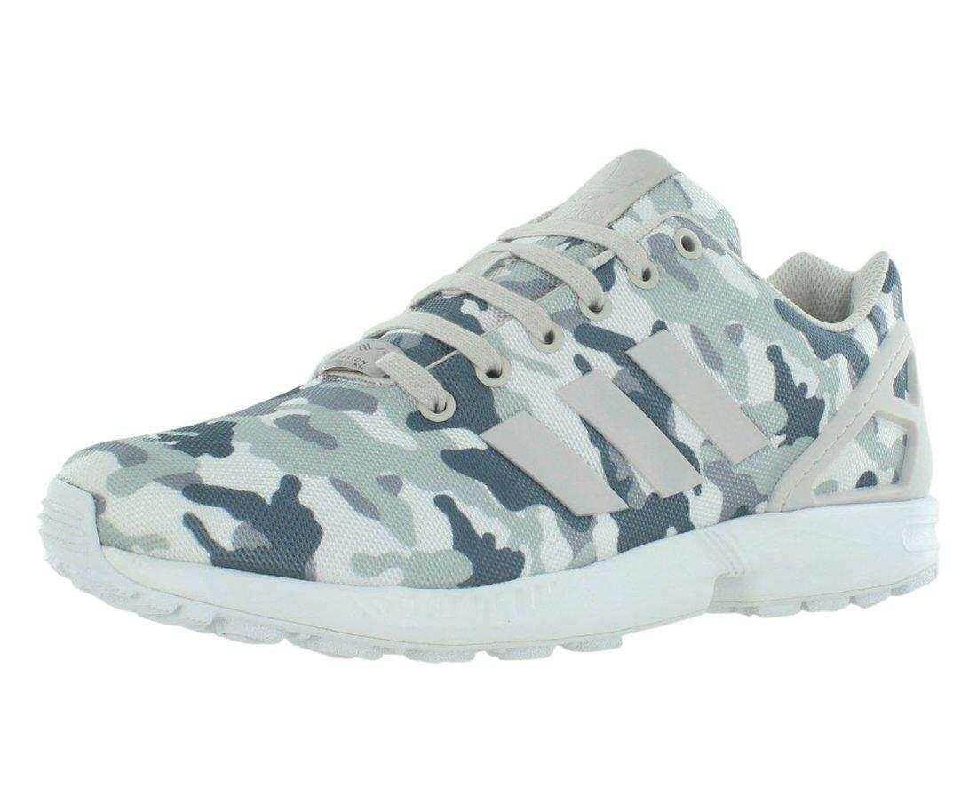 Adidas ZX FLUX Laki-laki Lari Sepatu Ukuran AS 10, Lebar Reguler, Warna Abu-abu/Kamuflase-Internasional