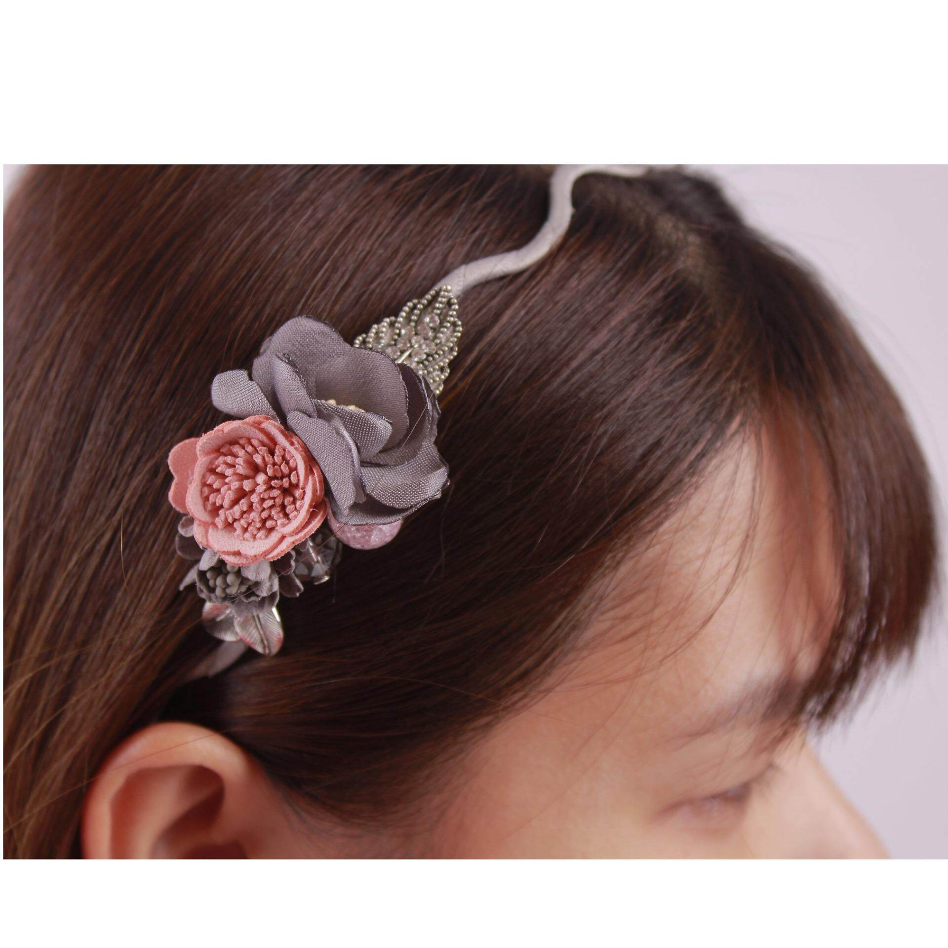 AFGY 0510 FGA 205 G Vintage Inspired Floral Hairband (Grey)