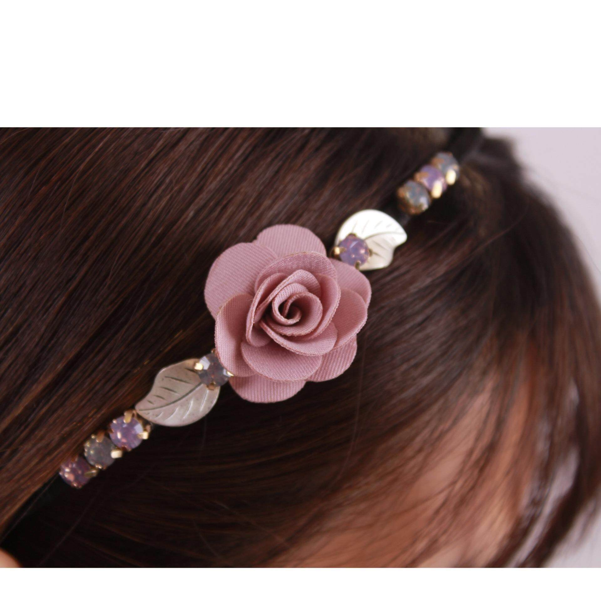 AFGY 0549 FGA 206 P Vintage Inspired Floral Hairband (Pink)