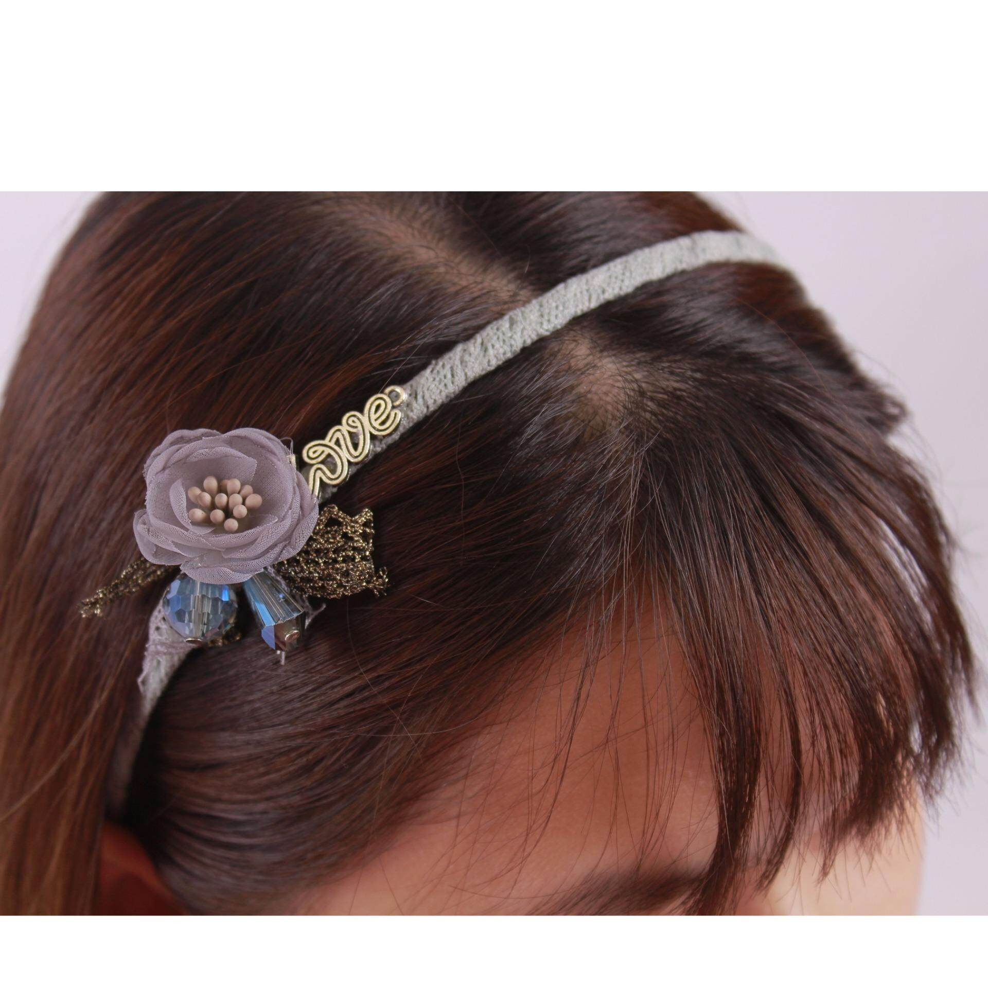 AFGY 70304 FGA 204 G Vintage Inspired Floral Hairband (Grey)