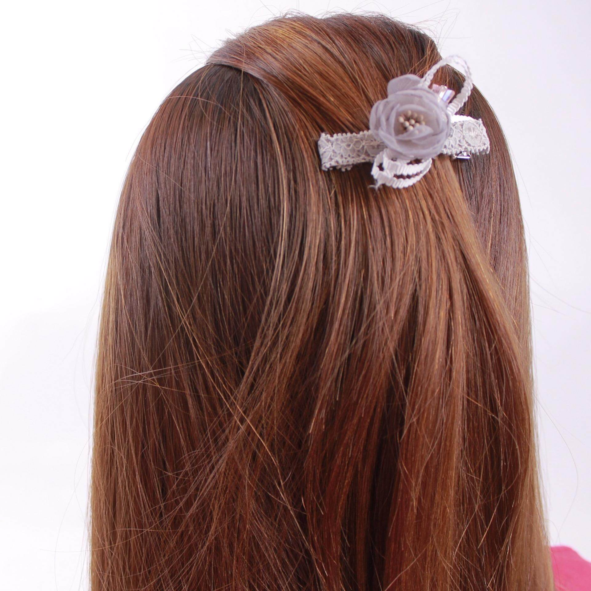 AFGY FGA 202G 70303 Hair Clip with Crystal Glass Jewel Accents (Length 6.5cm, Grey)