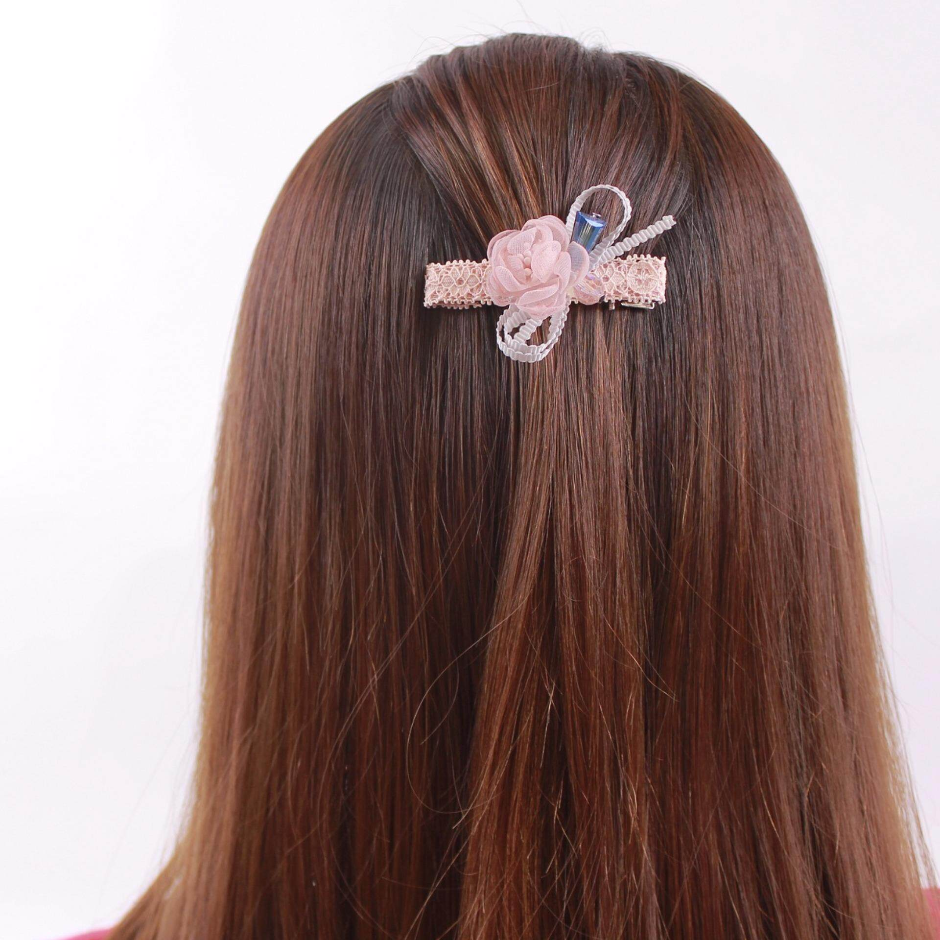 AFGY FGA 202P 70303 Hair Clip with Crystal Glass Jewel Accents (Length 6.5cm, Pink)
