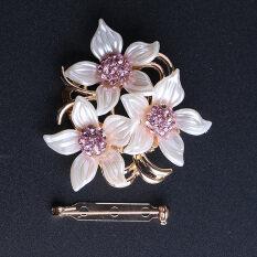 Allwin Modis Kristal Berlian Imitasi Tiga Pin Bros Jilbab Bunga Sederhana Klip-Internasional