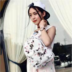 Allwin Wanita Motif Bunga PU Kulit Sekolah Tas Travel Bahu Bag Backpack Putih-Intl