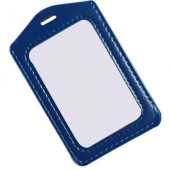 Amango ID Badge Holder Vinyl Case Clear Border and Lanyard Blue
