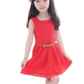 Harga Amart Baby Kids Girls Skirt Sleeveless Princess Lace Summer Dress Clothes New Cute with Belt