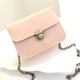 Amart Casual Small Chain Crossbody Shoulder Bags Women PU Leather Purse Clutches Flap Handbags (Pink
