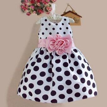 Amart Cute Kids Toddler Girls Princess Dress Sleeveless Polka DotsBowknot Dresses Children Clothing