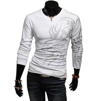 Harga Amart Dragon Tattoo Round Neck Long Sleeve T-shirt Leisure Top forMen Boys(White)