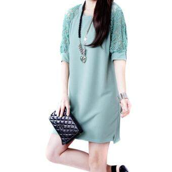 Harga Amart Fashion Summer Women Mini Dresses Half Lace Sleeves O-neckLoose Straight Dresses