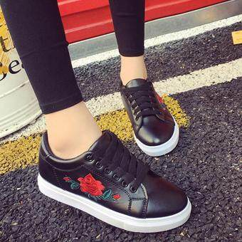 Amart Fashion Women Flat Shoes Spring Rose Embroidery Platform Casual Shoes(Black)