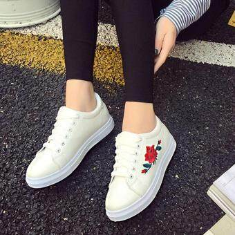 Amart Fashion Women Flat Shoes Spring Rose Embroidery Platform Casual Shoes(White)