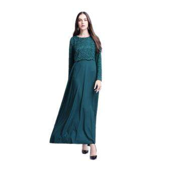 Harga Amart Muslim Women Long Sleeve Maxi Dress Clothing Robe MoroccanLace Dresses(Green)