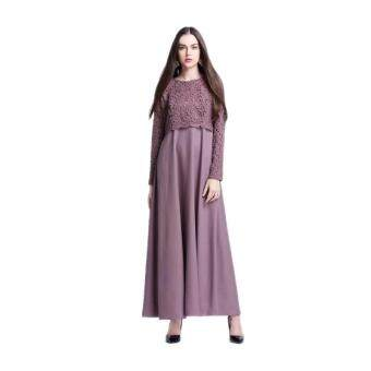 Harga Amart Muslim Women Long Sleeve Maxi Dress Clothing Robe MoroccanLace Dresses(Purple)
