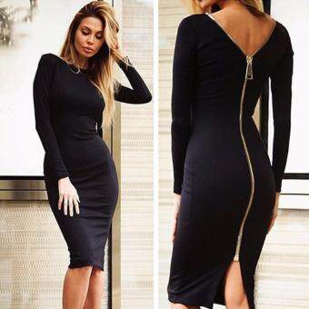Harga Amart Simple Fashion Autumn Winter Women Dresses Long Sleeve SolidColor Zipped Backless Bodycon Evening Dress(Black)