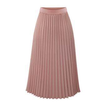 Harga Amart Spring Fashion Women's Chiffon Skirt Pleated Chiffon ElasticMiddle Waist Long All-match Skirts
