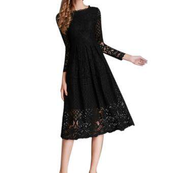 Harga Amart Women High Wiast Sexy Dress Long Sleeve Hollow Out Lace SlimElegant Party Dresses