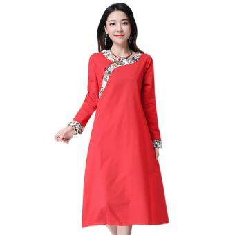 Harga Amart Women Long Dresses Vintage Style Collar Long Sleeved DressCheongsam Loose Cotton Dresses
