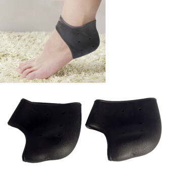 Andux 2 pairs Silicone Moisturizing Gel Heel Breathable Socks Cracked Foot Skin Care GJHGT-01 Black