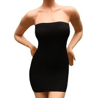 Andux Sexy Slimming Tube Top Stretch Strapless Slip Mini Dress SS-W03 Black