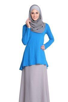 Aqeela Muslimah Wear Puplum Top Blue