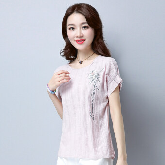 Harga Art Linen short-sleeved t-shirt (Rose ash) (Rose ash)