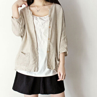 Artistic cotton linen spring and New style cardigan (Hemp color) (Hemp color)