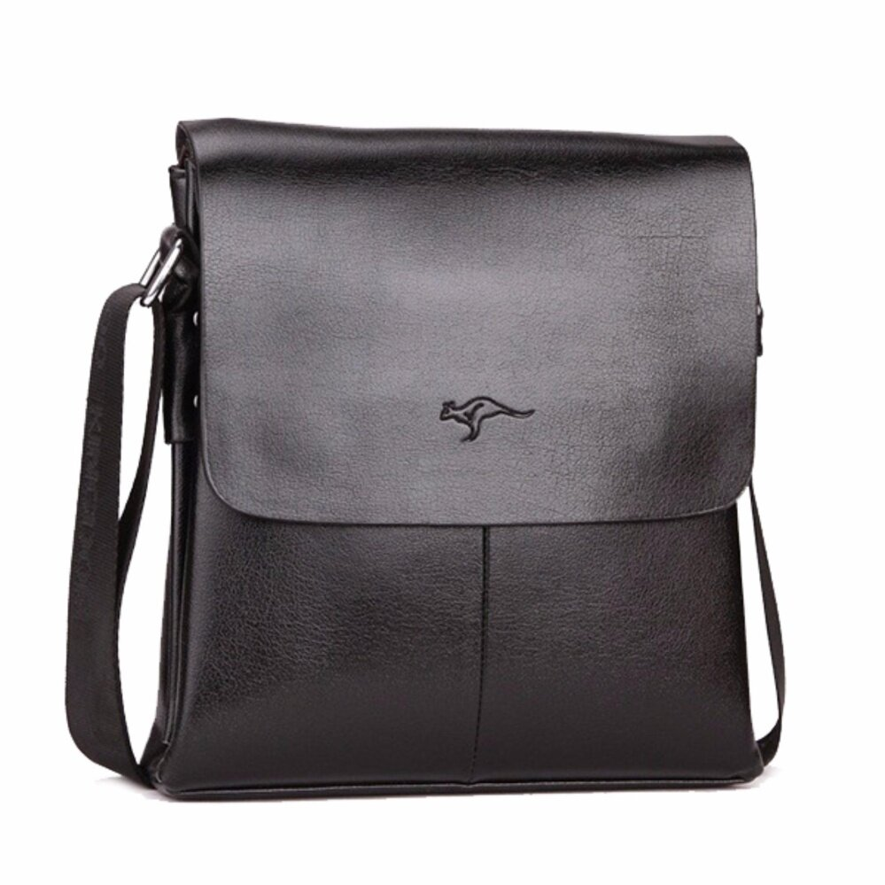 Aus Kangaroo T PU Leather Messenger Crossbody Shoulde Bag Casual Business Man (Black)