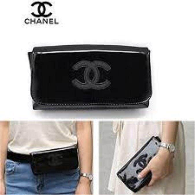 e46e22b80be8 Authentic Chanel VIP Black Waist Belt Bag & Clutch
