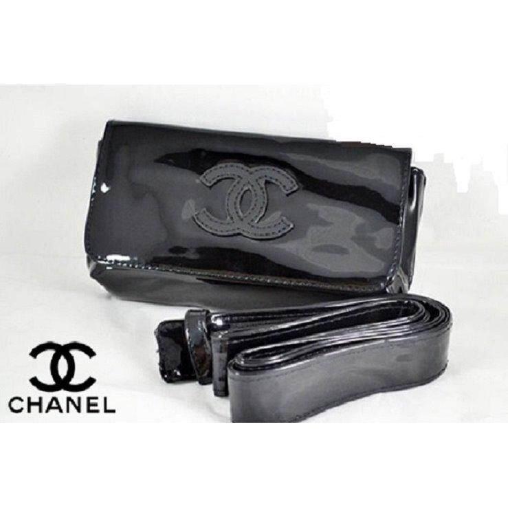 6388f7de4414 Authentic Chanel VIP Black Waist Belt Bag & Clutch