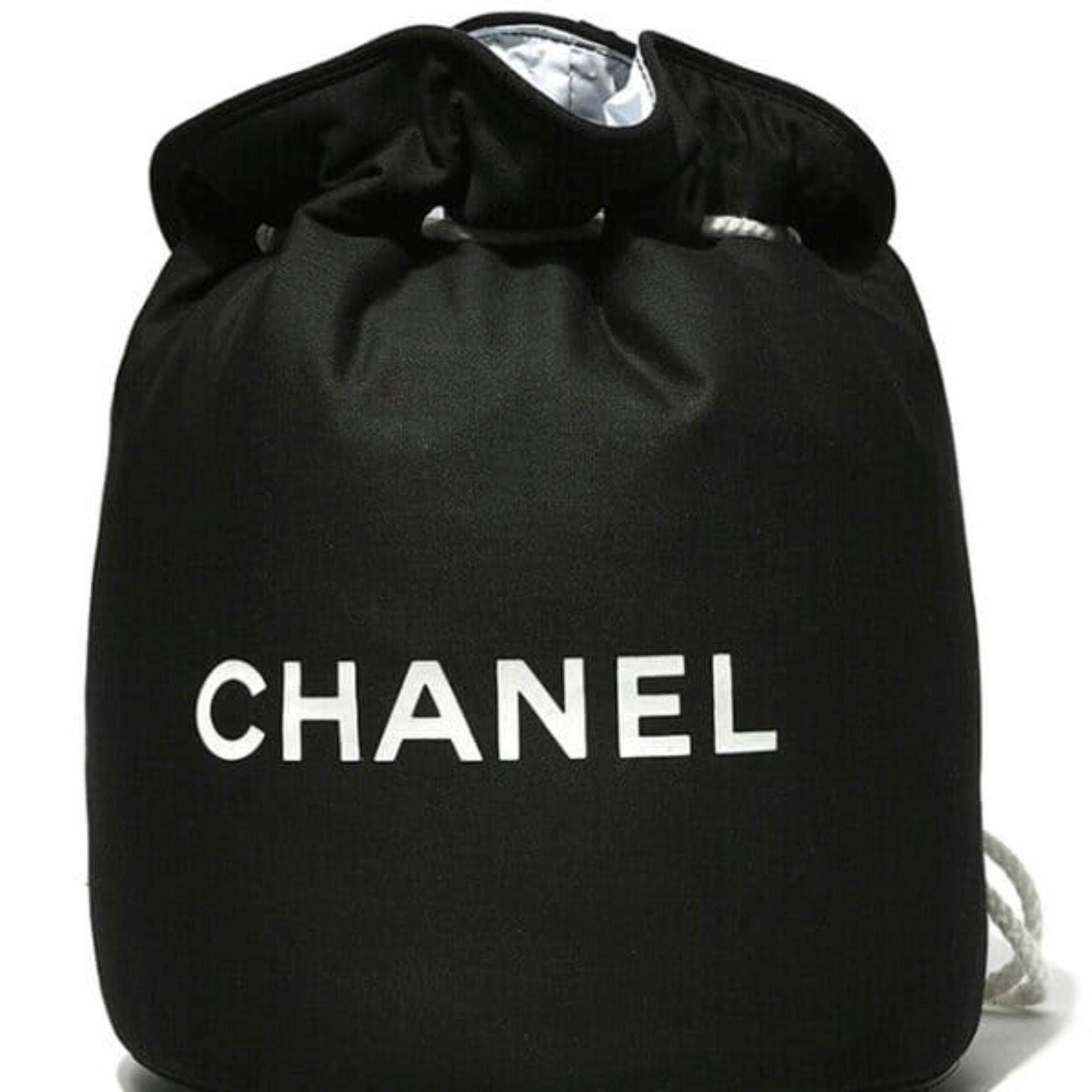 57508dd02f96 Authentic Chanel VIP gift Black Drawstring Bucket Bag
