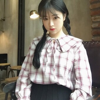 Autumn Women's Korean-style small fresh doll collar lace loose long-sleeved plaid shirt student casual shirt Top (Blue Grid) - 2