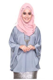 Azzara Cottons Silky Kaftan Top (Greyish Blue)