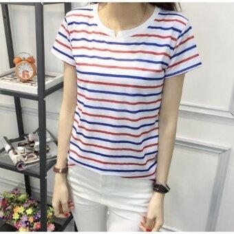 Baju BERJALUR blue and white striped slim fit T-shirt Biru Putih Lady Plain T