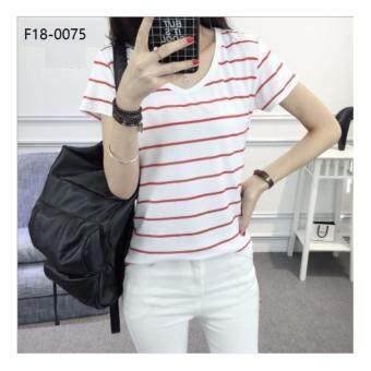 Baju BERJALUR red and white striped slim fit T-shirt Merah Putih Lady Plain T