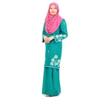 Baju Kurung Moden - Cotton Embroidery - 1185 - E15 (Dark Green)